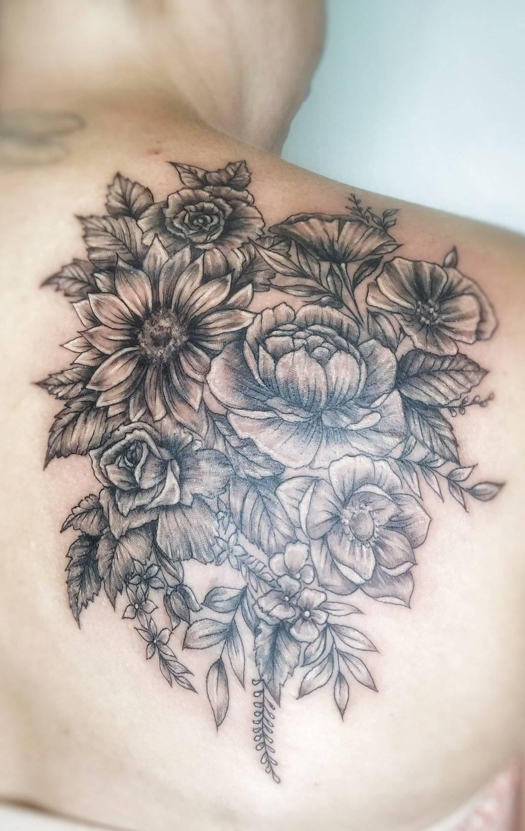 flowers tattoo female tattoo artist tattooist art shoulder tattoo celebrity ink