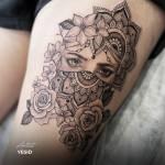 girl eyes mandala tattoo roses