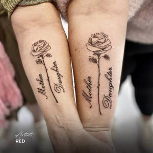 mother daughter tattoo matching cursive script lettering words