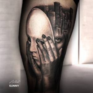 surrealism tattoo black and grey mask face girl city ink art