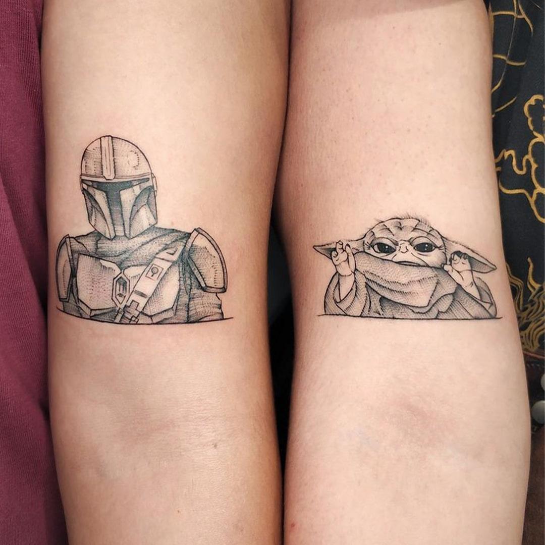 mandalorian baby yoda matching tattoos