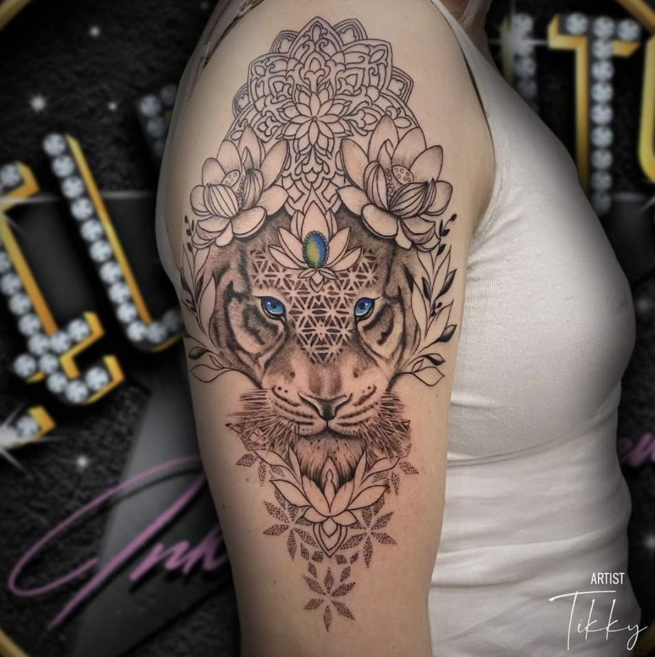 lion tattoo mandala chakras third eye geometric tattoo