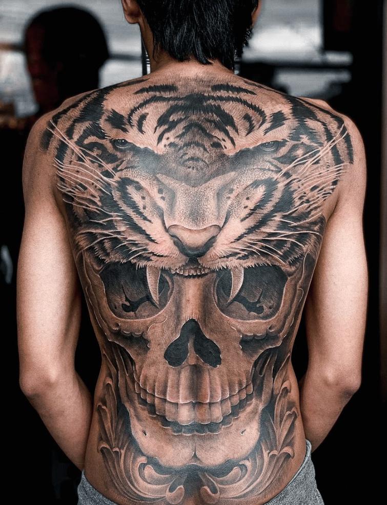animal tattoos tiger skull full back tattoo realism realistic