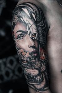 animal tattoos hybrids human animal tattoo colour arm