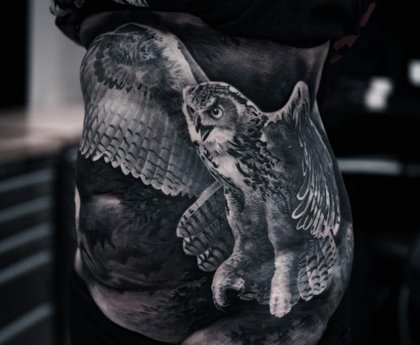 owl tattoo black and white animal tattoos