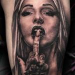 chicano tattoo black and grey photorealis realism surrealism portraiture middle finger latino latina tattoo celebrity ink