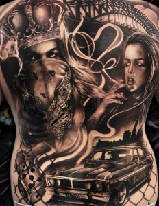 chicano tattoo black and grey photorealis realism surrealism portraiture middle finger latino latina tattoo celebrity ink full back cars drugs money