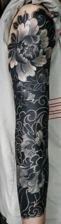 traditional japanese tattoo oriental tattoos irezumi black work lotus flowers cover up full sleeve