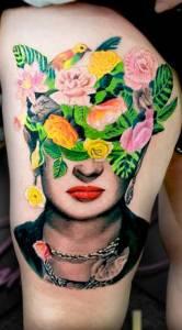 flower plants birds colour tattoo woman