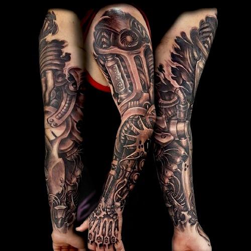 biomechanical tattoo full sleeve black and grey